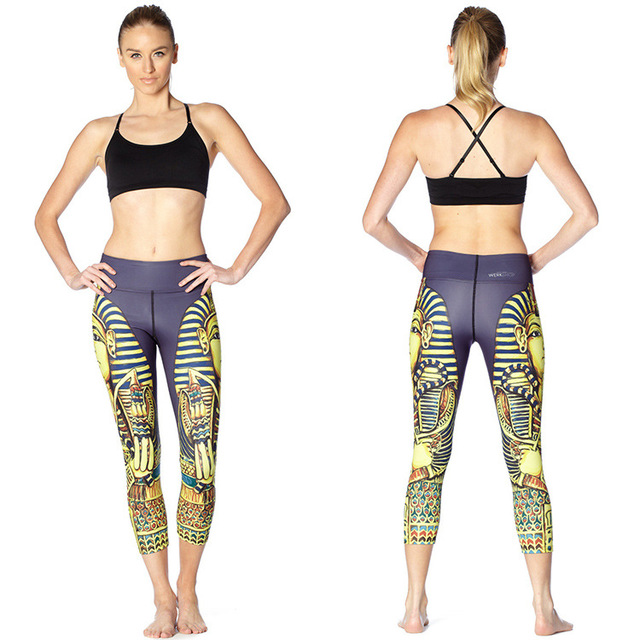 3aed3aded6 JIGERJOGER 2016 High waisted printed Yoga Capris three quarters Pant  Pharaoh Butterfly sublimation printed workout pant sports