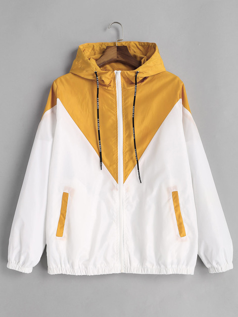 Two Tone Windbreaker Jacket Zipper Pockets Casual Long Sleeves 3