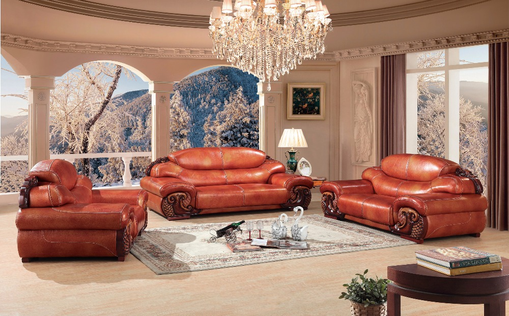 Luxury European Leather Sofa Set Living Room Furniture