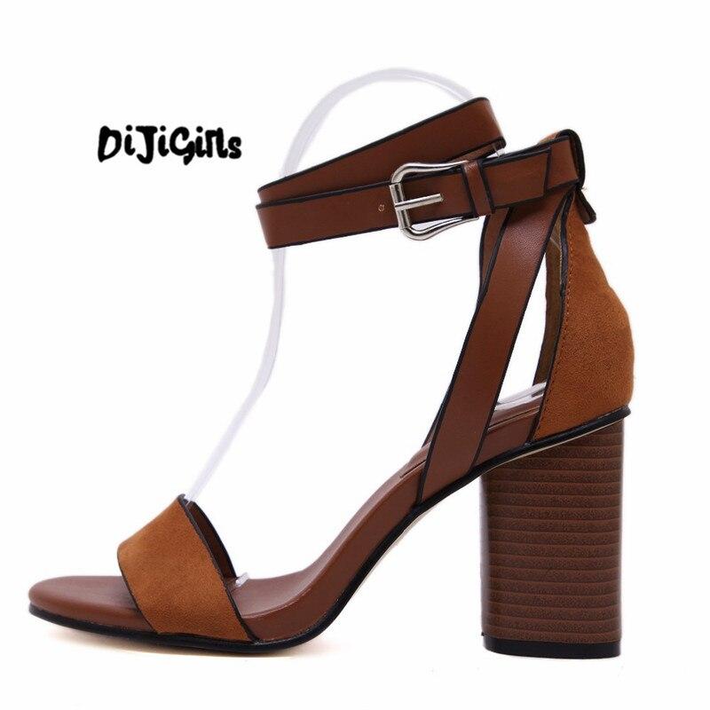 Vintage Classic Block Chunky High Heel Cork Wood Heel Sandals Concise Women Open Toe Flock Casual Dress Shoes Pumps Woman newest solid flock high heel pumps woman