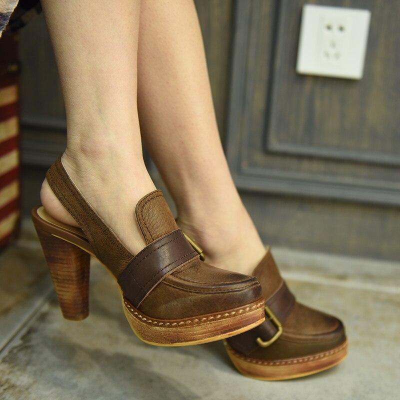 En 16015 De Main Chaussures artdiya Coffee Épais La Femmes Boucle forme À Nouveau Artmu Véritable 3 Sandales Talons D'origine Cuir Plate Rétro 8wq1wSHUF