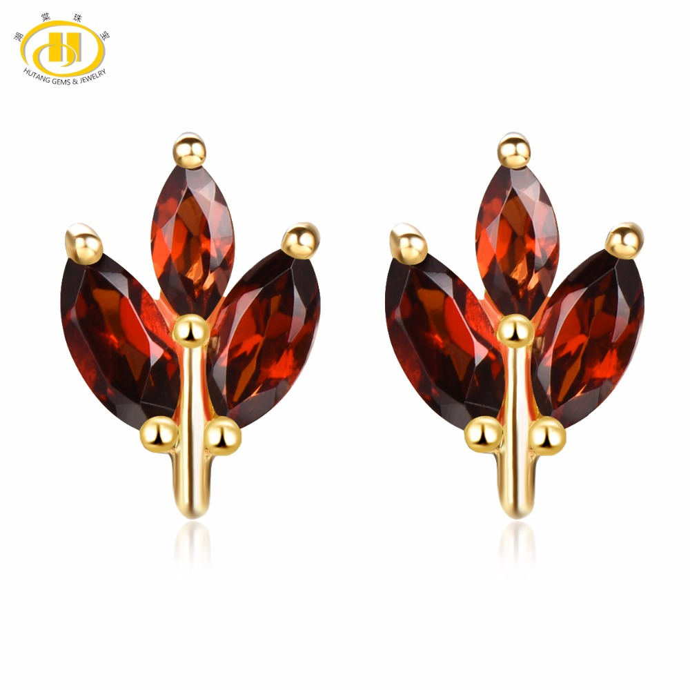 Hutang Gemstone Fine Jewelry 18K Yellow Gold Plated S925 Silver Genuine Garnet Ear Stud Earrrings for Women Wedding Gift New