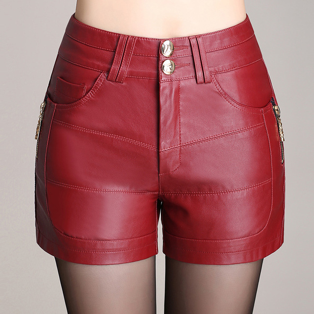 Plus Size M-4xl New 2016 Autumn/winter Pu Leather Shorts Women Boots High Waist Shorts Sexy Casual Short Female Red/Black
