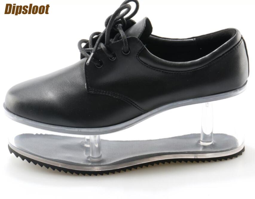 Smooth Black/Whtie Leather Women Lace Up Casual Shoes Transparent Platform Ladies Sweet Style Shoes High Bottom Spring Shoes beffery 2018 british style patent leather flat shoes fashion thick bottom platform shoes for women lace up casual shoes a18a309