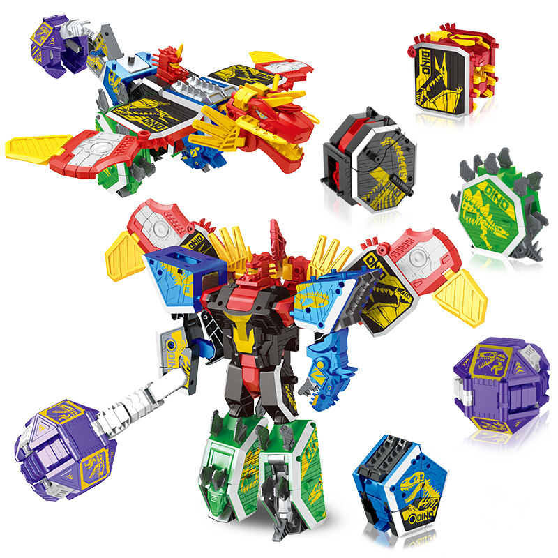 New <font><b>Kids</b></font> Transformation <font><b>Toy</b></font> Assembly <font><b>Dinosaur</b></font> Rangers 5 in 1 Deformation Robot Model Boy Birthday Gifts image