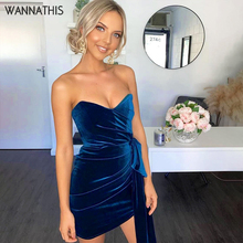 WannaThis Sexy Velvet Party Dress V-Neck Strap Dress Ruched Women Sheath Bodycon Mini Dresses Lace Up Backless Elegant Dress цены