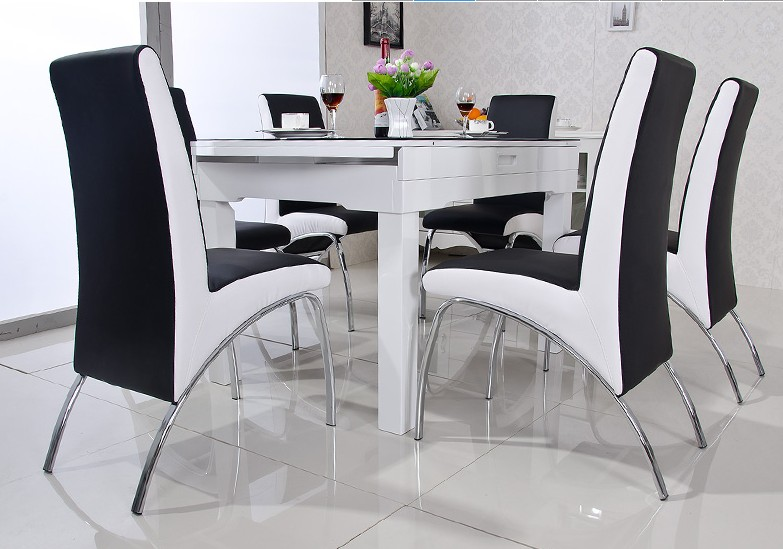 Buy modern dining chair pu leather v for Chaise salle a manger annee 50