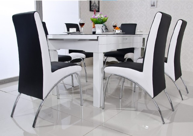 Modern dining chair pu leather v shaped style dinning for Designer dining chairs sale