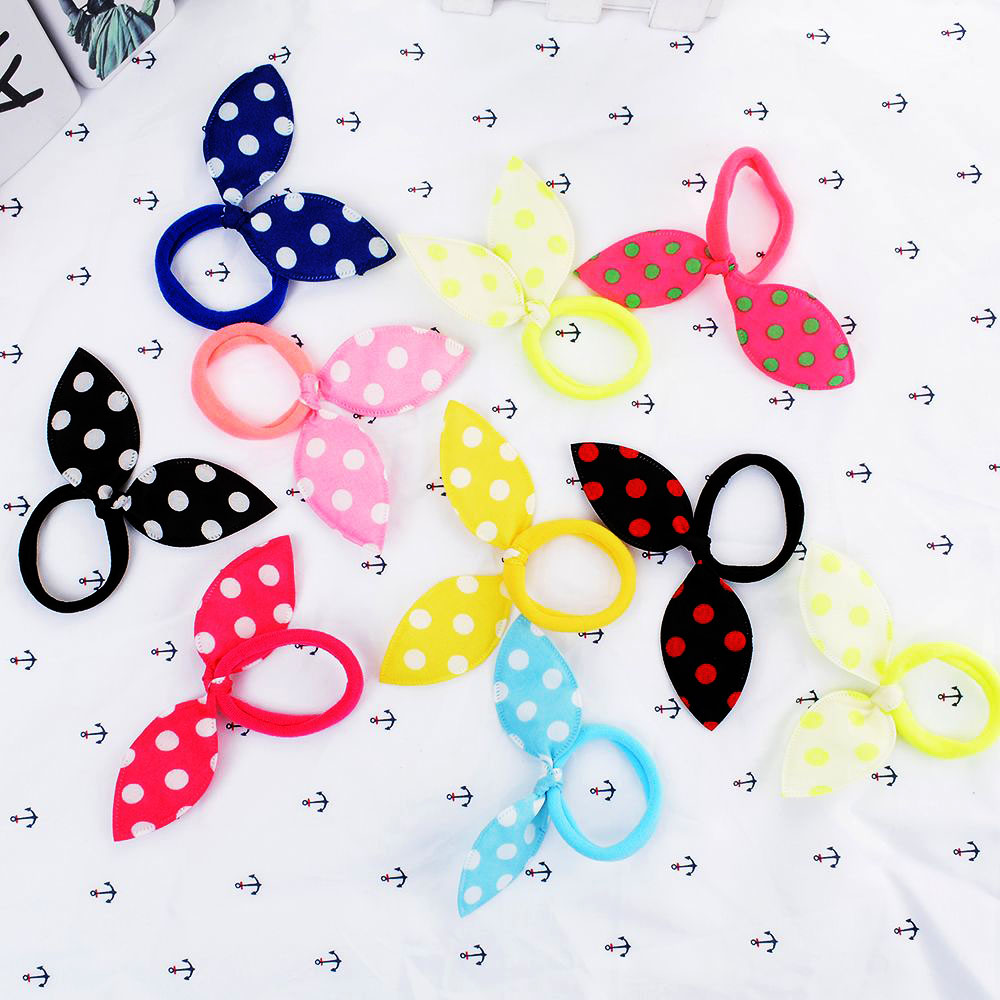 10 pcs Ribbon Hairbow Girls hair top hair clip For Girl Dot Printed Bow Hairpin Children Hair Accessories gum for hair   Headwear