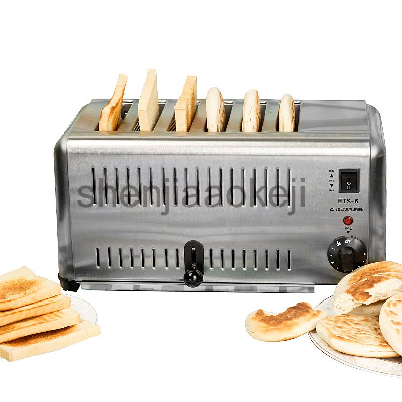 Stainless Steel Toaster 6 slice toaster Commercial Use 6-Slicer Electric Bread Toaster Machine 220v 1pc