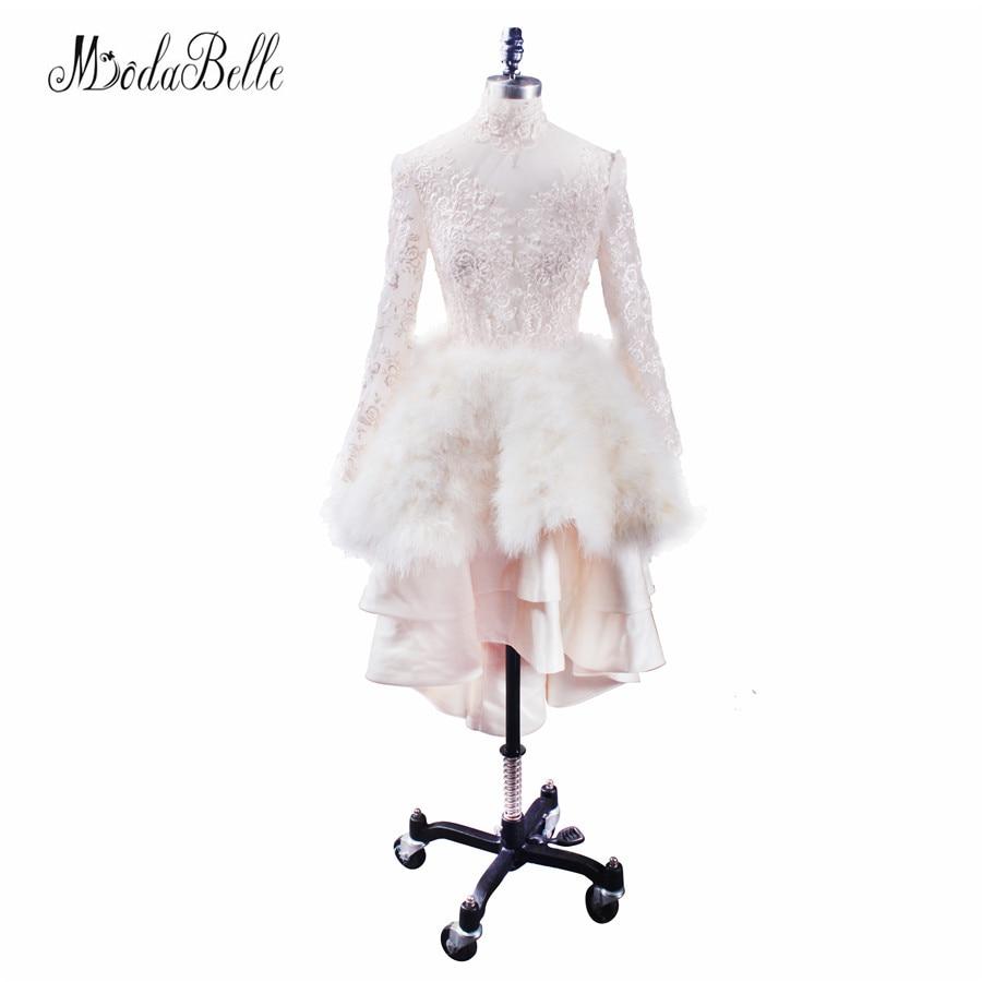 Modabelle 2017 роскошные шампанское долго назад короткий передний платье для выпускного вечера Перо Кружево высокое Средства ухода за кожей шеи в