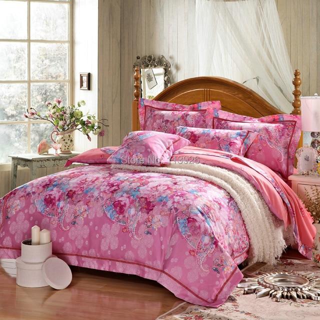 Top Quality Bamboo Fiber Bedding Set 4pcs Jacquard Comforter Bed Linen, Bed  Sheet / Duvet