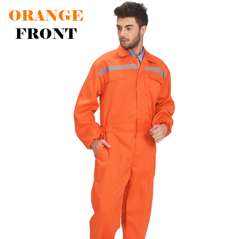 Image 4 - Mens White Orange Blue Reflective Workwear Work coverall strap jumps High Visibility Work Clothing Overalls Free Post-in Safety Clothing from Security & Protection
