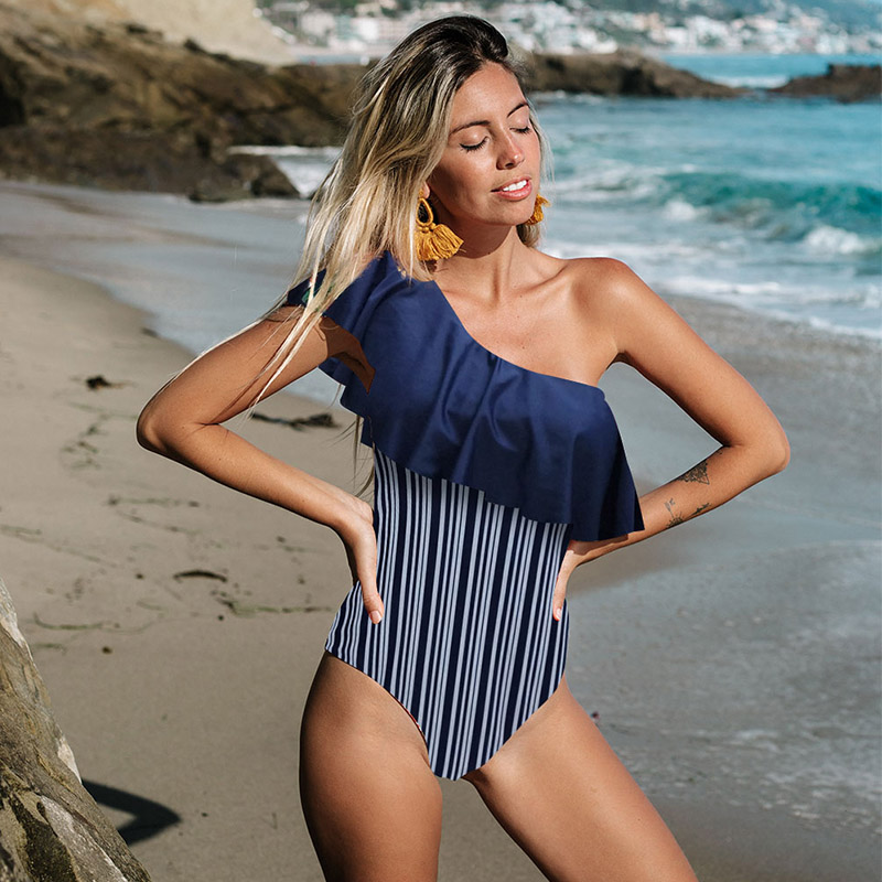 2019 Sexy Solid Yellow One Piece Swimsuits For Female One Shoulder Women Swimwear Push Up Bathing Suits Bodysuits Beach wear