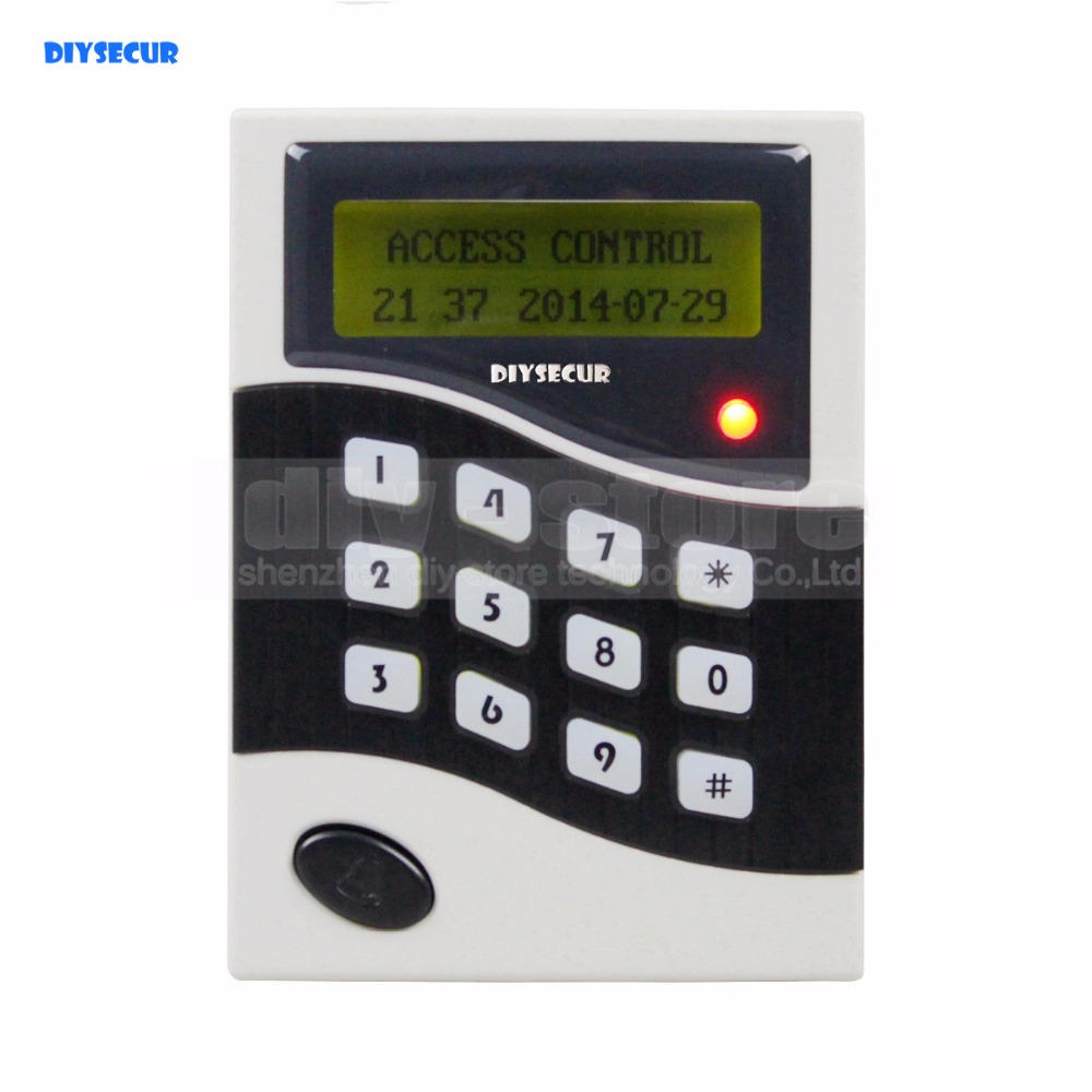 DIYSECUR LCD 125KHz RFID Keypad Password ID Card Reader Door Access Controller + 10 Free ID Key Tag B100 password management short range nfc module rfid 13 56mhz tag reader