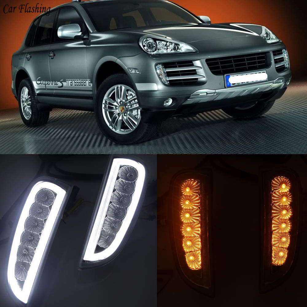 1Pair DRL for Porsche Cayenne I 957 9PA 2006 2007 2008 2009 2010 LED Turn signals position light Daytime Running Light fog lamp-in Car Light Assembly from Automobiles & Motorcycles    1