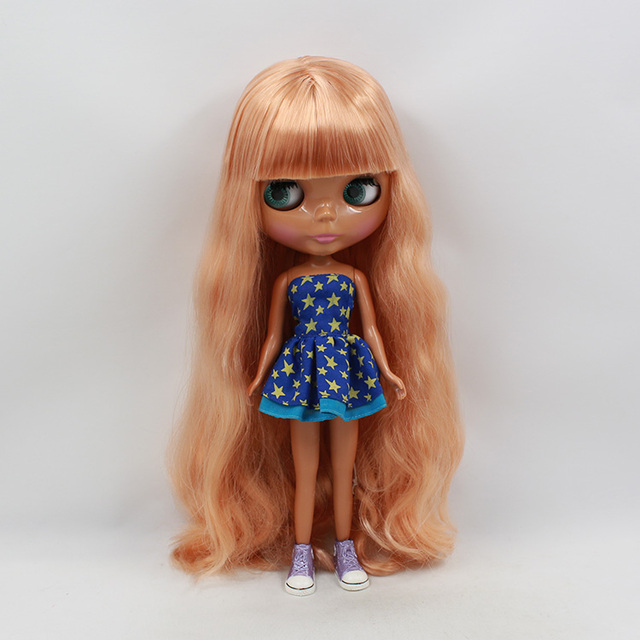 Factory Neo Blythe Doll Rose Gold Hair Regular Body 30cm