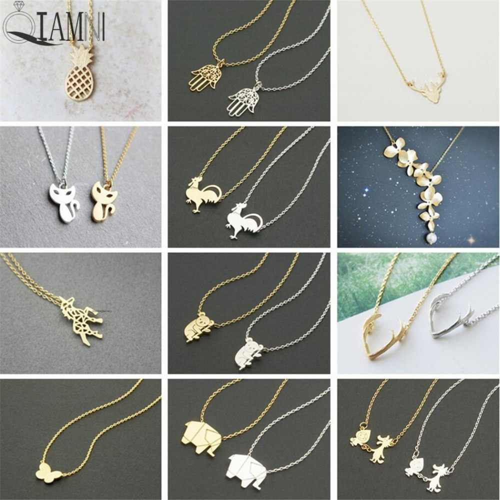 QIAMNI Pineapple Flower Koala Elephant Unicorn Cat Butterfly Wolf Bird Animal Antlers Necklace Pendants Pet Lover Gift Jewelry