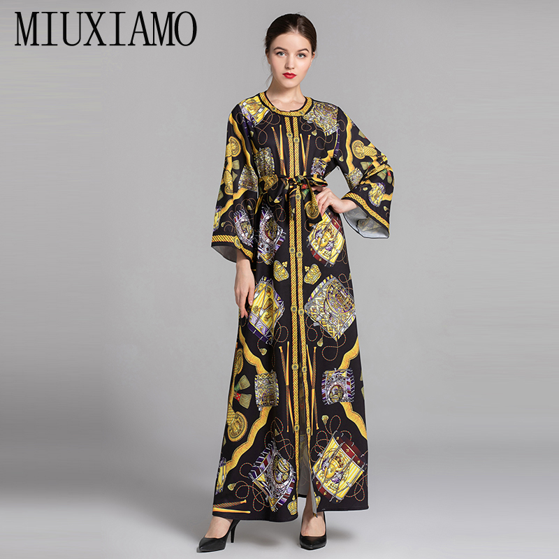 Trustful Miuximao 2019 Spring &summer Casual Straigh Floral Maxi Dress And Printed Full Sleeve Bow Ankle-length Long Dress Women Vestido Convenience Goods Dresses