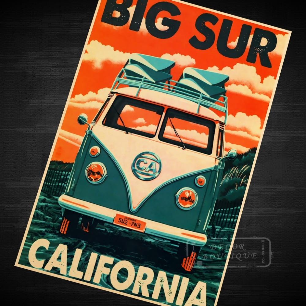 California Big Surf Vintage Travel Surf Beach Poster Retro