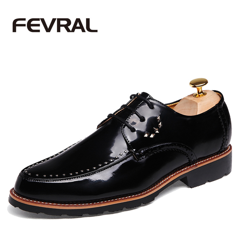 FEVRAL Brand Fashion High Quality Casul Shoes Handmade Mens Dress Shoes Patent Leather Lace up Autumn Designer Formal Men Flats fashion top brand italian designer mens wedding shoes men polish patent leather luxury dress shoes man flats for business 2016