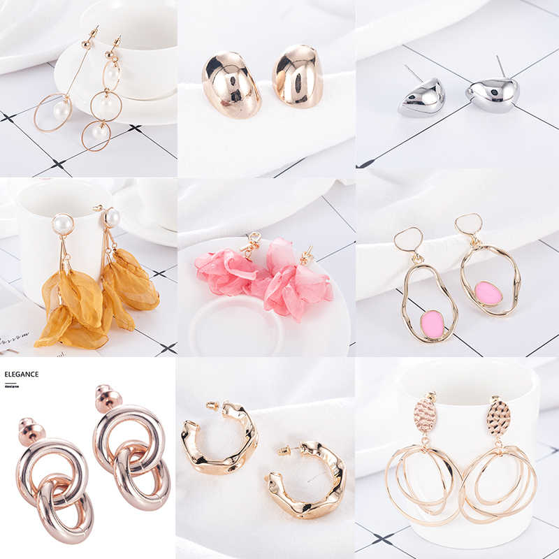 15 Pair New Trendy Golden Multi-layer Pearl Earrings For Women Jewelry On Ear Femme Drop Dangle Earrings Bijouterie Brincos