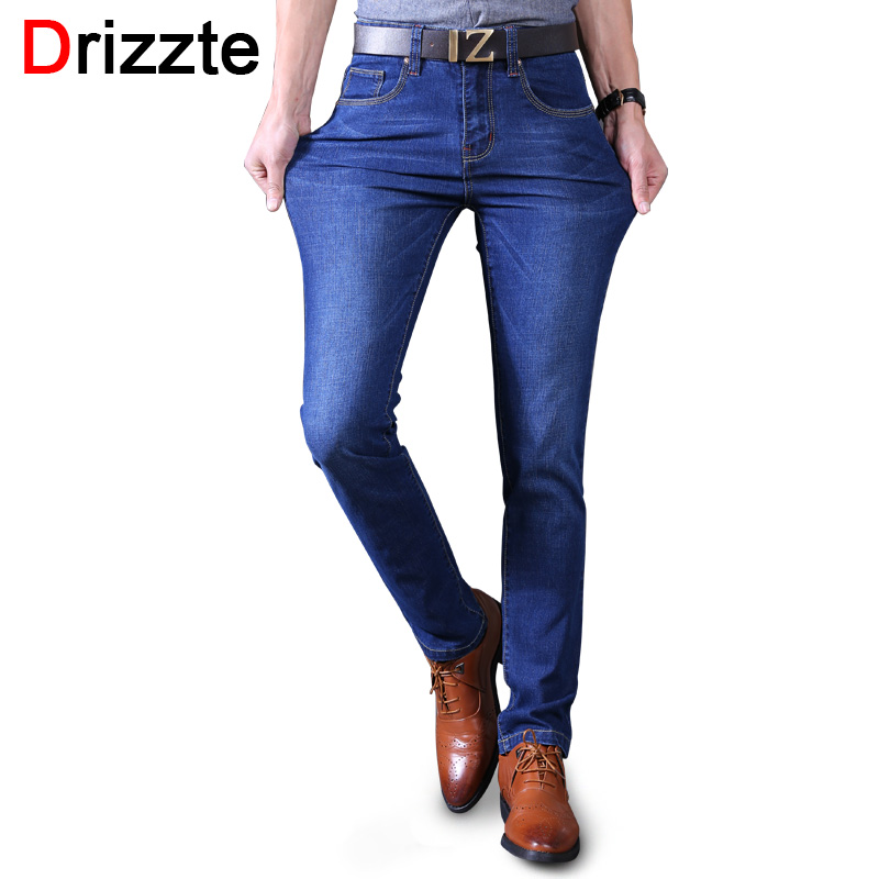 Drizzte Black Blue Mens Stretch Jeans Denim Brand designer Mens Slim Fit Jean Size 30 32 34 35 36 38 40 Pants Trousers Male drizzte men s jeans classic stretch blue denim business dress straight slim jeans size 34 35 36 38 pants trousers jean for men
