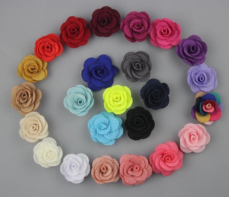 Wholesale 1200pcs 2 5cm Mini Burlap Flowers felt back Fabric Flower Rosettes DIY Hair Accessories girl