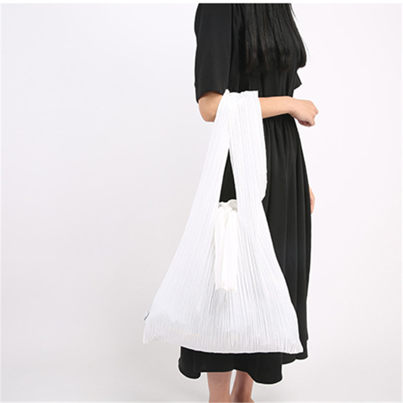 Japanese Fold Pleated Bags Causal Shoulder Tote Bags Large Foldable Canvas Shopping Bags Girls Travel Storage Handbags