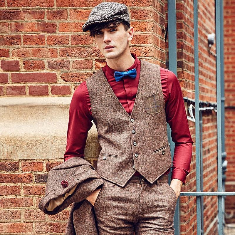 Marke Männer Clothing2016Autumn Winter 31.2% Wolle männer casual slim fit anzug weste weste männer woolen formale hochzeit gilet V ausschnitt