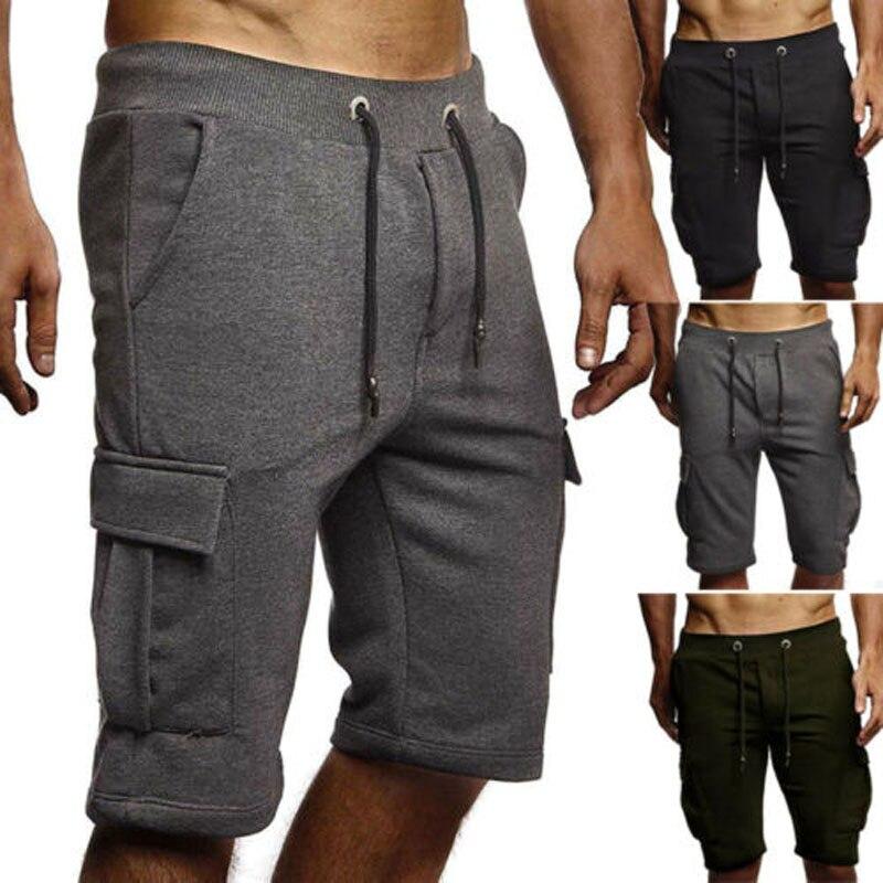 Мужские повседневные короткие спортивные брюки, однотонные брюки для бега, спортивные брюки, спортивные брюки, 2019