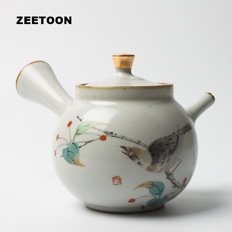 260ml Japanese Coarse Pottery Teapot Kung Fu Tea Set Kettle Puer Coffee Vintage Ru Kiln Magpie Pot Creative Ceramic Home Decor