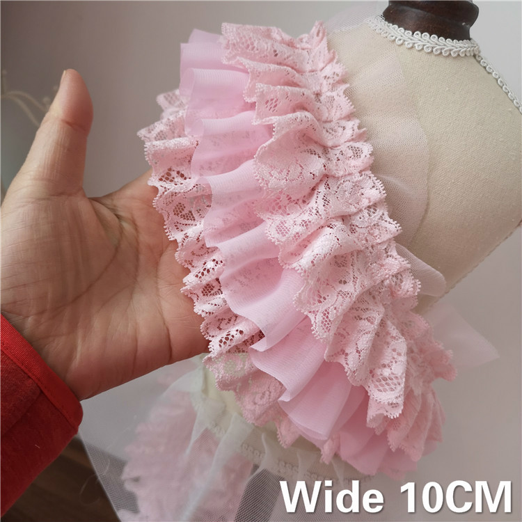 10CM Wide Three Layers Pink 3D Pleated Chiffon Lace Ruffle Trim Embroidery Ribbon Wedding Dress Fluffy Skirt DIY Sewing Supplies