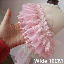 10 CM Breit Drei Schichten Rosa 3D Plissee Chiffon Spitze Rüschen Trim Stickerei Band Hochzeit Kleid Flauschigen Rock DIY Nähen liefert
