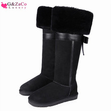 G&Zaco Luxury New Winter Natural Sheepskin Boots Knee-high Snow Boots Genuine Leather Tube Bow Warm Wool Sheep Fur Long Boots 2014 winter new arrival child color block decoration snow boots genuine leather thermal plus velvet female child knee high baby