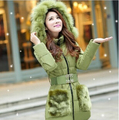 2015 Winter Womens Parka Casual Outwear Hooded Coat Winter Jacket Women Fur Coats Women Overcoat Woman Clothes S30