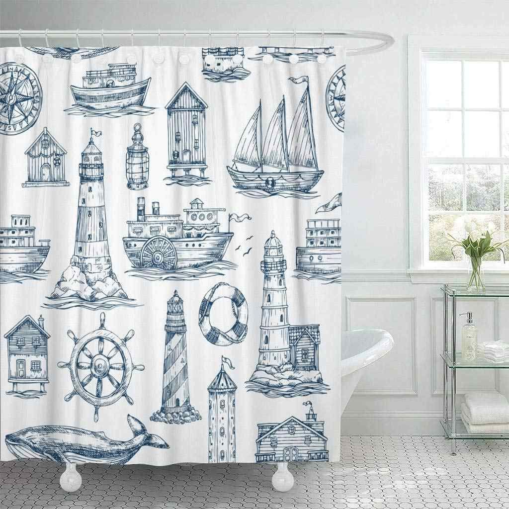 Shower Curtain with Hooks Watercolor Sailor Nautical Sea Navy Lighthouse Boat Marine Anchor Ship Antique Travel Bathroom
