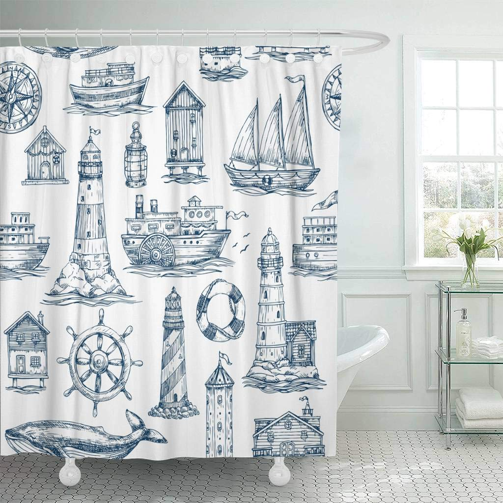 Shower Curtain With Hooks Watercolor Sailor Nautical Sea