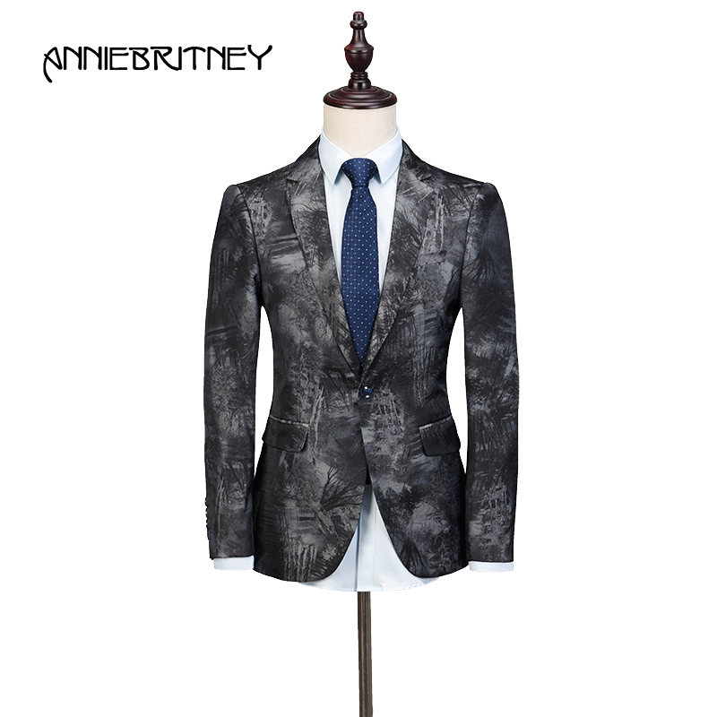 2018 Grey Jacquard Men Suits for Wedding Floral Gentle Tuxedo Slim Fit Groom Blazer Prom Wear Formal Terno Masculino Only Jacket