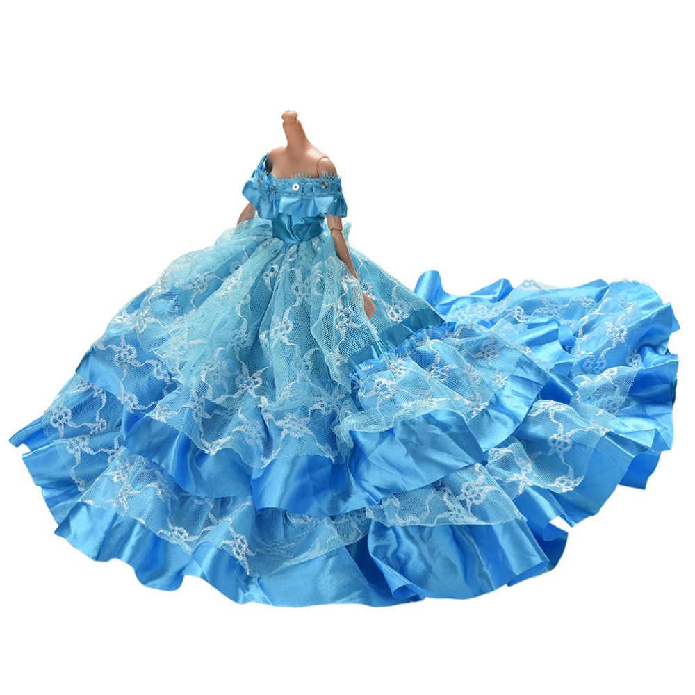 אופנה יפה בעבודת יד חתונה נסיכת שמלת בגדי שמלת עבור בובת שמלות אביזרי 1 יחידות