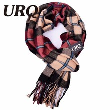 URQ Winter Scarf New Soft Cashmere Scarves Plaid Check Warm Oblong Fringe Unisex Man Woman's Scarf Pashimina A3A17527