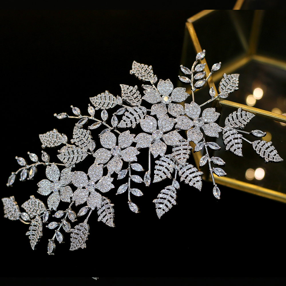 Bridal Wedding Jewelry Hair Accessories Zirconia Jewelry Ladies Headdress Wedding Hair Clips Party Hair Accessories Crown