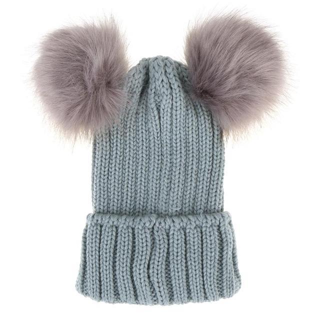 Faux Fur Pompom Hat Women Winter Caps Knitted Wool Cotton Hats Two Pom Poms  Skullies Beanies Bonnet Girls Female Cap 898c7fd6bf