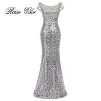 2016 Long Mermaid Evening Dresses Silver Formal Prom Dress Sequins Evening Gowns Robe De Soiree Longue