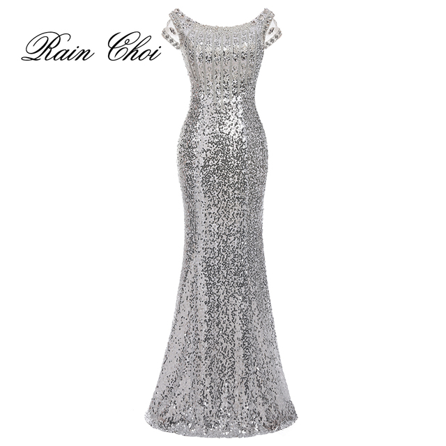 2018 Long Mermaid Evening Dresses Silver Formal Prom Dress Sequins Evening Gowns robe de soiree longue
