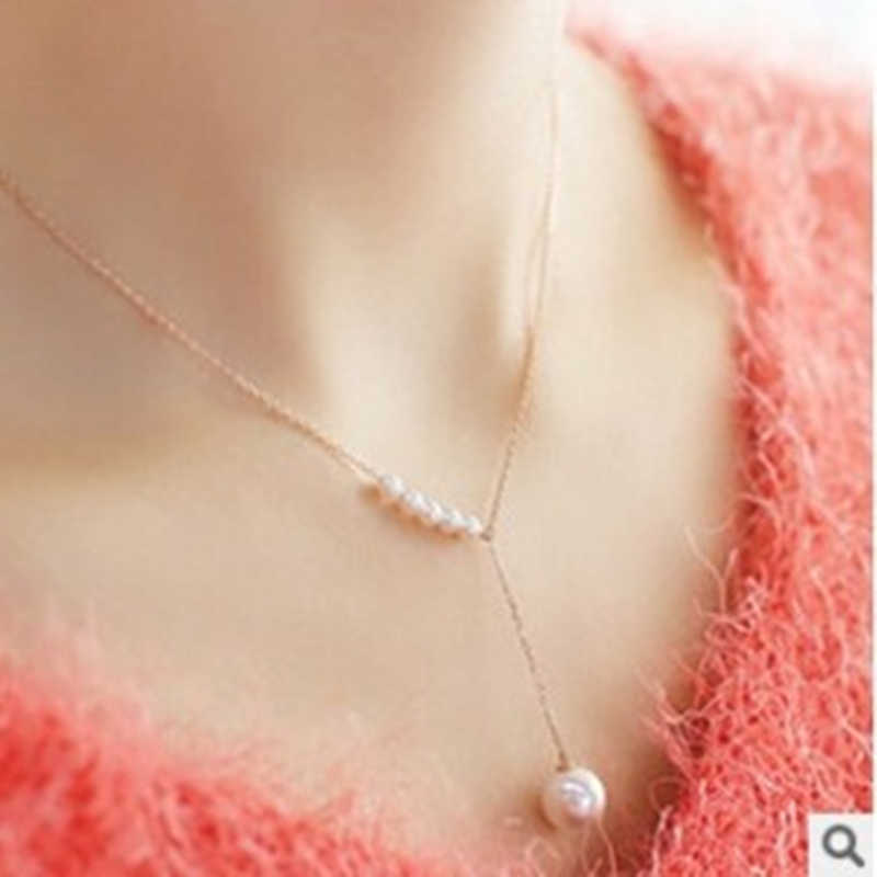 2019 European and American fashion jewelry new personality temperament simple short word imitation pearl necklace