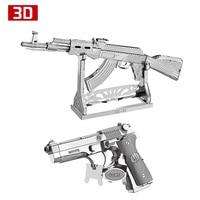 2pcs 3D Metal Nano Puzzle AK47 Beretta 92 Gun Weapon Building Model Kit DIY 3D Laser
