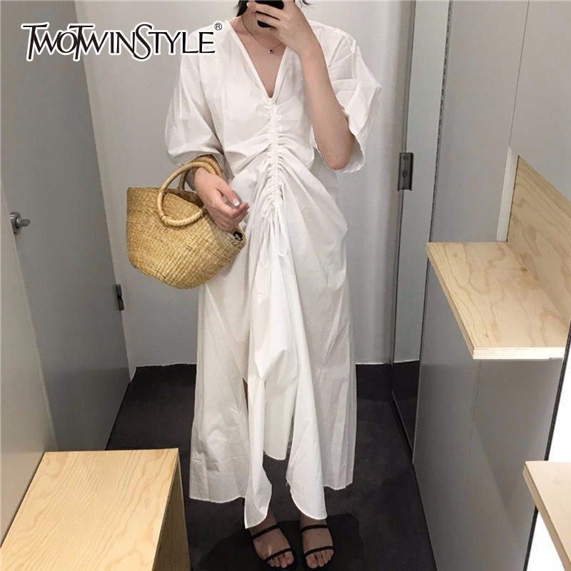 TWOTWINSTYLE Backless Bandage Summer Dress For Women 2018 V Neck Half Lantern Sleeve Irregular Women's Dresses Sexy Fashion Tide twotwinstyle striped dress female deep v neck long sleeve slim bandage summer dresses for women hollow out ol style fashion tide