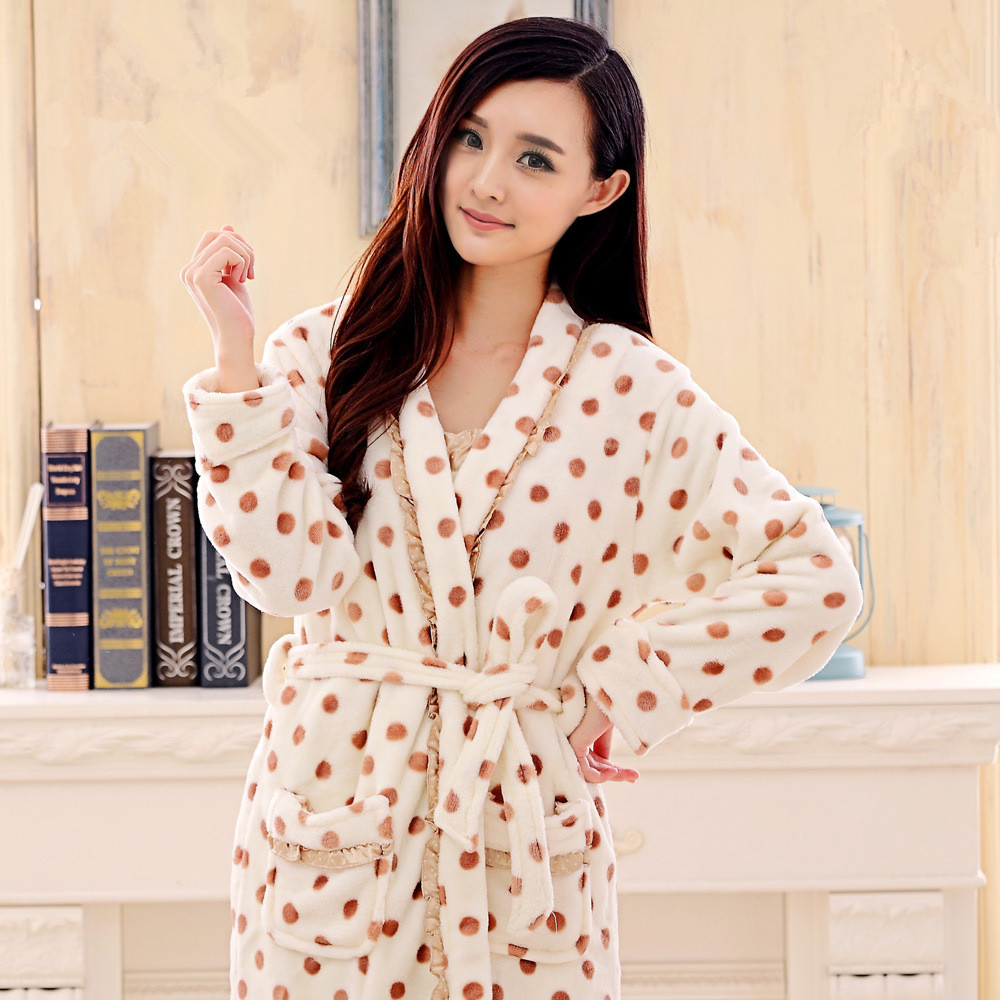autumn   winter robe female thickening coral fleece sleepwear women flannel  bathrobe female bathoses lounge 2 piece set lxy127-in Robes from Women s ... 0f6d38fed