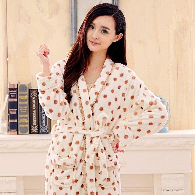 autumn & winter robe female thickening coral fleece sleepwear women flannel bathrobe female bathoses lounge 2 piece set lxy127